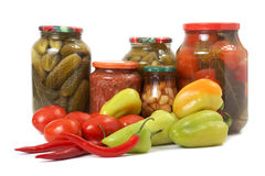 Fresh And Tinned Vegetables Stock Images