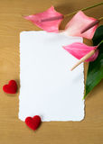 Fresh Anthurium flowers  and blank card Stock Image