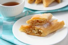 Fresh Apfelstrudel on a plate Stock Image