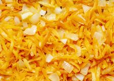 Fresh appetizing carrots finely RUB and fry with onions on a frying pan with oil.
