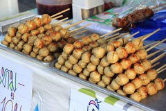 Fresh appetizing meat ball. Thai Style grilled Beef Ball with sweet and sour sauce Royalty Free Stock Image