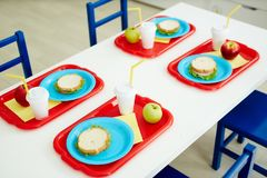 Elementary school lunch Stock Photos