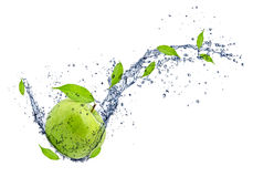 Fresh apple. Green apple in water splash, isolated on white background Royalty Free Stock Images