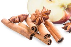 Fresh apple and aromatic spices Royalty Free Stock Images