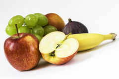 Fresh apple, banana, grapes, fig, nectarine Royalty Free Stock Photography