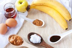 Ingredients for paleo apple-cinnamon pancakes royalty free stock photos