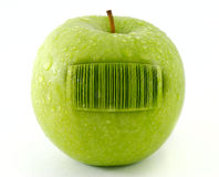 Fresh apple with bar code. On white Stock Photo