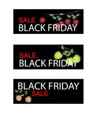 Fresh Apple on Black Friday Sale Banner Royalty Free Stock Images