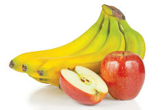 Fresh apple and bunch of bananas Stock Image