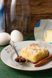 Fresh apple cake and star anise on spoon Stock Photos
