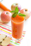 Fresh apple and carrot juice Stock Photo