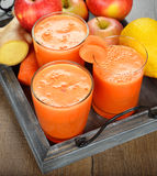 Fresh apple and carrot juice Royalty Free Stock Image