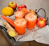 Fresh apple and carrot juice Stock Image