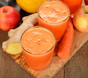 Fresh apple and carrot juice Royalty Free Stock Photo