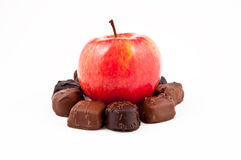 Fresh apple chocolate isolated on white background Stock Photo