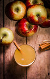 Fresh Apple Cider with Cinnamon Sticks and Apples Royalty Free Stock Photography