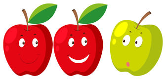 Fresh apple with faces Stock Photo