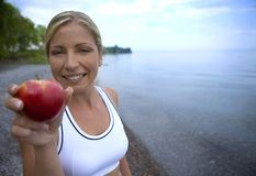 Fresh apple and fitness Stock Photos