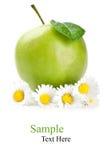 Fresh apple and flowers Stock Photos