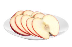 Fresh apple fruit slices on white plate isolated on white. Background Royalty Free Stock Photography