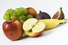 Fresh apple, grapes, banana, fig, nectarine Stock Photo