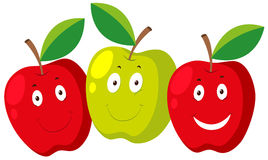 Fresh apple with happy faces Stock Image
