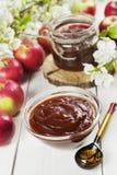 Fresh apple jam stock photo