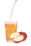 Fresh apple juice. Glass of apple juice on white background Stock Photography