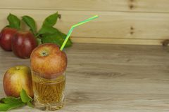 Fresh apple juice, cool summer refreshment, diet drink Royalty Free Stock Images