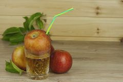 Fresh apple juice, cool summer refreshment, diet drink. With vitamins Stock Photography