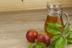 Fresh apple juice, cool summer refreshment, diet drink Royalty Free Stock Photos