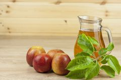 Fresh apple juice, cool summer refreshment, diet drink Royalty Free Stock Image