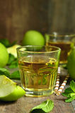 Fresh apple juice in a glass. Stock Photo