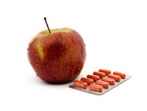 Fresh apple and Medicines Royalty Free Stock Image