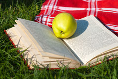 Fresh apple and open book. On spring grass Royalty Free Stock Photography