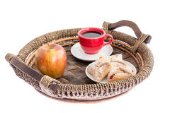 Fresh apple, pastries and coffee for breakfast Royalty Free Stock Photo
