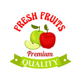 Fresh apple. Premium quality fruits sticker. Fresh red and green apples poster. Premium quality apple vector icon for juice bottle sticker, grocery, farm store Royalty Free Stock Photo