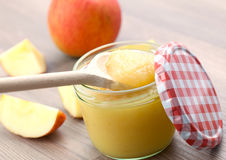 Fresh apple puree in glass stock photography