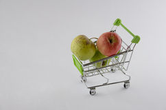 Fresh apple in the shopping cart. Fruit photo. Healthy product. Royalty Free Stock Photo