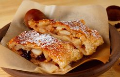 Fresh apple strudel with nice crust Stock Photos