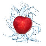 Fresh apple with water splash. On the white background Stock Image