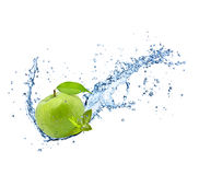 Fresh apple in water splash on white backround Stock Image