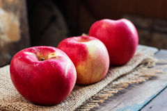 Fresh apple on wooden. Royalty Free Stock Image