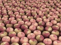 Fresh apples background 3d. Render royalty free illustration