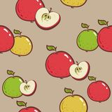 Fresh apples background, hand drawn icons. Colorful wallpaper vector. Seamless pattern with fresh fruits collection. wallpapers, vector illustration