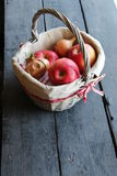 Fresh apples in a basket, copy space Royalty Free Stock Photography