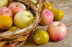 Fresh apples in the basket, food closeup. Stock Photography