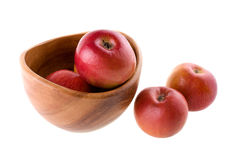 Fresh apples in the bowl. On white background Stock Photos