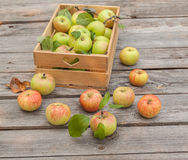 Fresh apples in box on wooden table Royalty Free Stock Photography