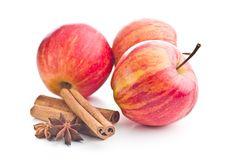Fresh apples , cinnamon and anise star. royalty free stock image